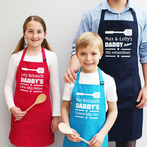 Personalised 'Daddy's Bbq Helper' Apron Set - kitchen accessories