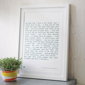 'Dad' Poem Art Print - art & pictures
