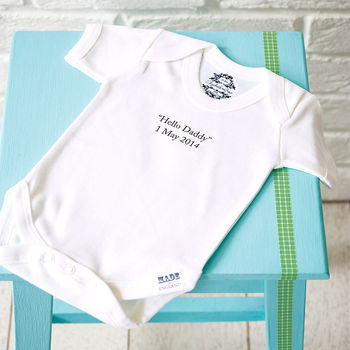 Personalised Baby Thoughts Organic Babygrow