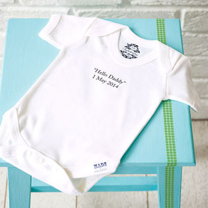 Personalised Baby Thoughts Organic Babygrow - gifts for fathers