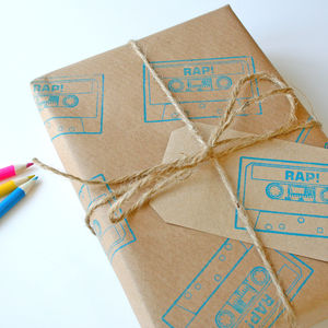 Rap Cassette Printed Gift Wrap Set