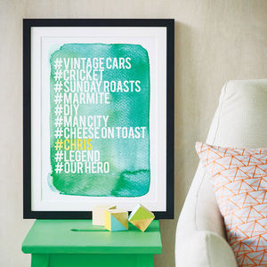 Personalised Hashtag Love List Print - prints & art