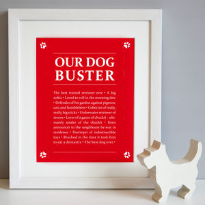Personalised 'Our Dog' Print