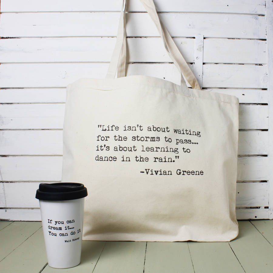 personalised inspirational quote tote bag by snapdragon. Black Bedroom Furniture Sets. Home Design Ideas