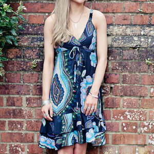 Paisley Print Summer Swing Dress - dresses