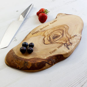 Personalised Rustic Olive Wood Chopping Board - 5th anniversary: wood