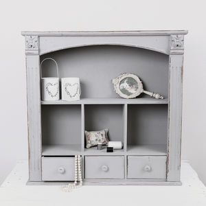 Vintage Grey Wall Cabinet With Drawers - living room
