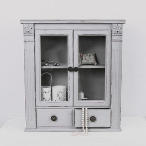 Taupe Grey Glass Fronted Wall Cabinet - furniture