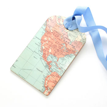 Personalised Wooden Map Luggage Label