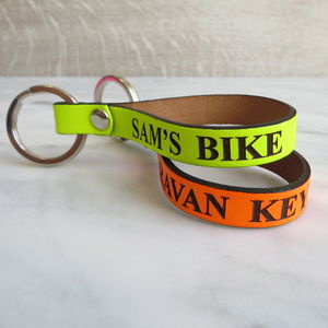 Neon Leather Keyring - keyrings