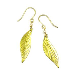 Leaf And Pearl Earrings - earrings
