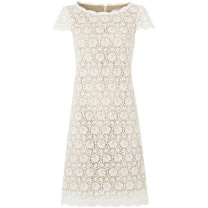 Ivory Lace Scalloped Neck Dress - wedding fashion