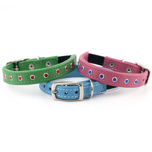 Leather Cat Collar With Swarovski Crystal - cats
