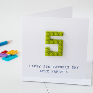 Personalised Building Block Number Father's Day Card