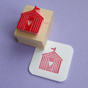Love Beach Hut Hand Carved Rubber Stamp