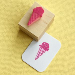 Little Ice Cream Cone Hand Carved Rubber Stamp