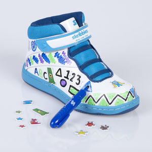 Blue/Navy Customisable Whiteboard Trainers - children's shoes, sandals & boots