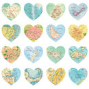 Map Hearts Print Luxury Gift Wrapping Paper