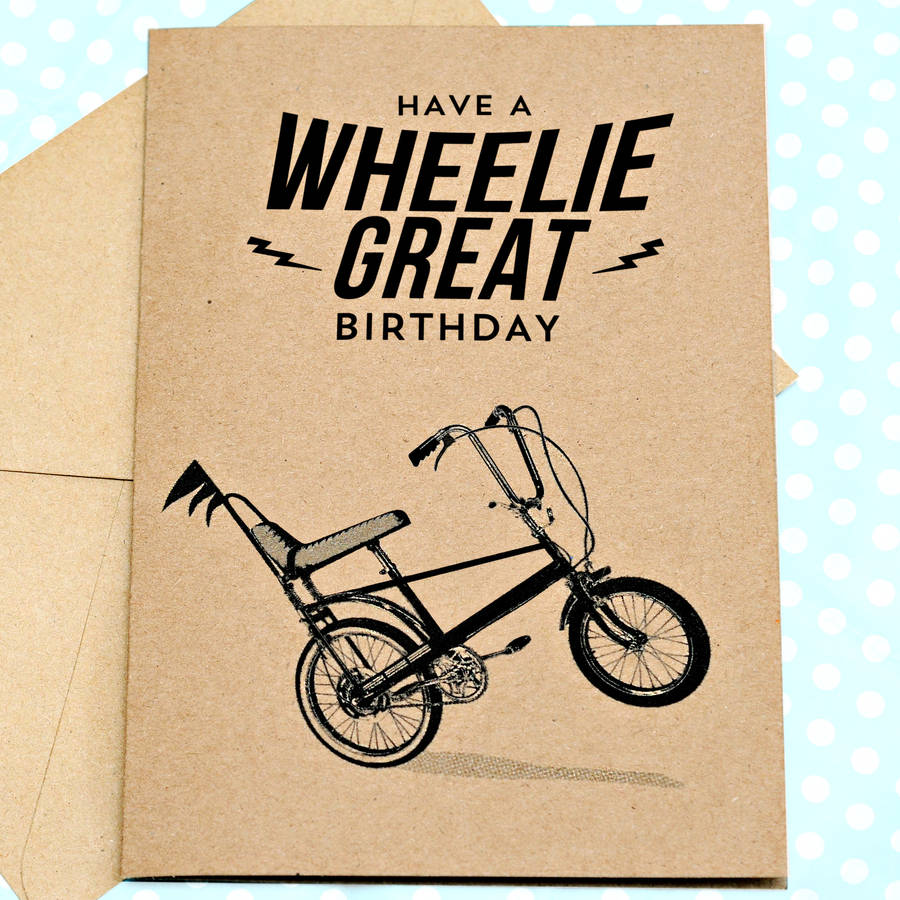 Wheelie Great Retro Birthday Card By Papergravy