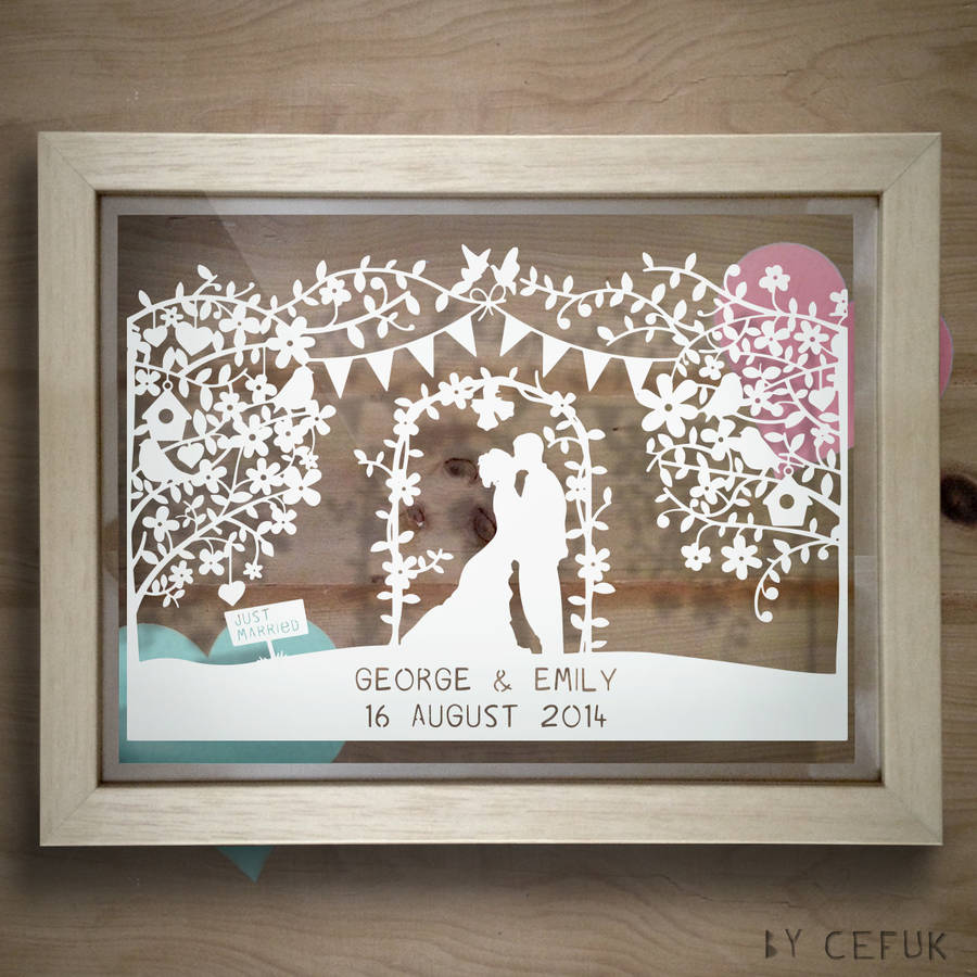 Personalised Silhouette Wedding Papercut By The Portland