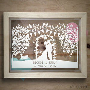 Personalised Silhouette Wedding Papercut - art & pictures
