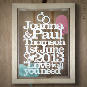 Personalised Wedding Or Anniversary Paper Cut - mixed media & collage
