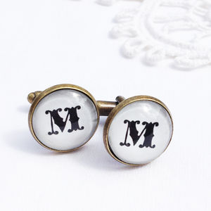 'Antique Bronze' Initial Cufflinks - men's jewellery