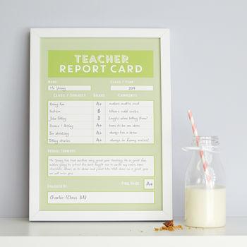 Personalised Teacher Report Card Print