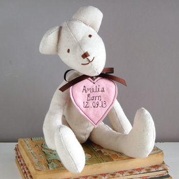 personalised new baby teddy bear, pink heart