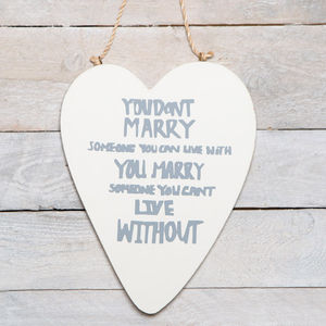 Romantic, Love Quote Heart Marry Sign - weddings sale