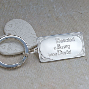 Silver Personalised Dad Key Ring