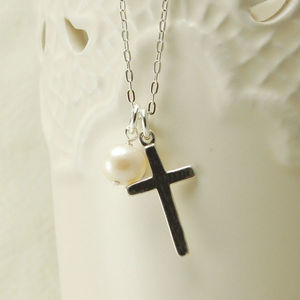 Silver Cross Necklace With Pearl Drop Charm