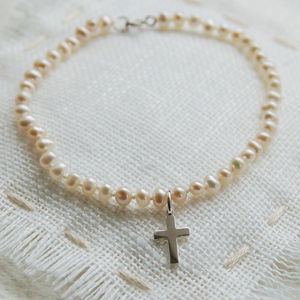 Girl's Pearl Bracelet With Cross Charm - children's jewellery