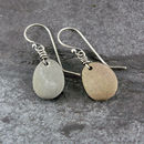 Beach Pebble And Silver Drop Earrings