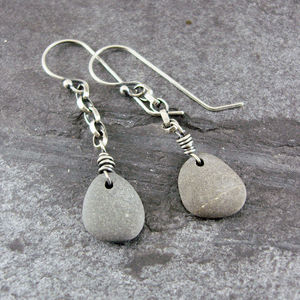 Beach Pebble And Silver Chain Drop Earrings - earrings