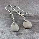 Beach Pebble And Silver Chain Drop Earrings