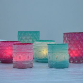 Coloured And Powdered Candle Holders