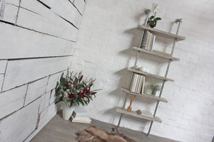 Robyn White Washed Wood And Steel Bookcase - living room