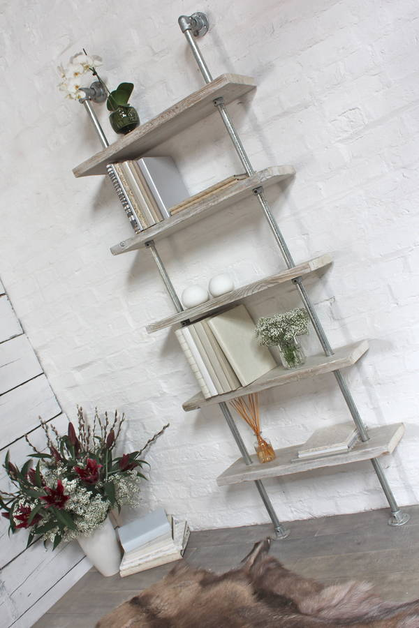 Robyn White Washed Wood And Steel Bookcase By Urban Grain Notonthehighstreet Com