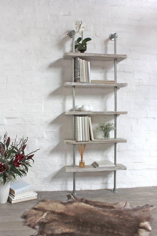 Robyn White Washed Wood And Steel Bookcase