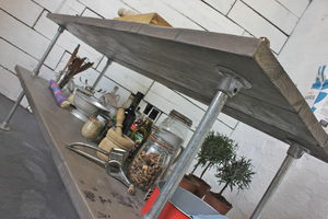 Deanna Reclaimed Grey Washed Wood Kitchen Island - shelves