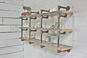 Alan Reclaimed Wood And Dark Steel Pipe Bookcase - drink & barware