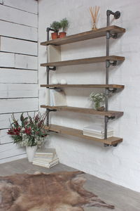 Roger Reclaimed Scaffolding And Dark Steel Shelving - living room