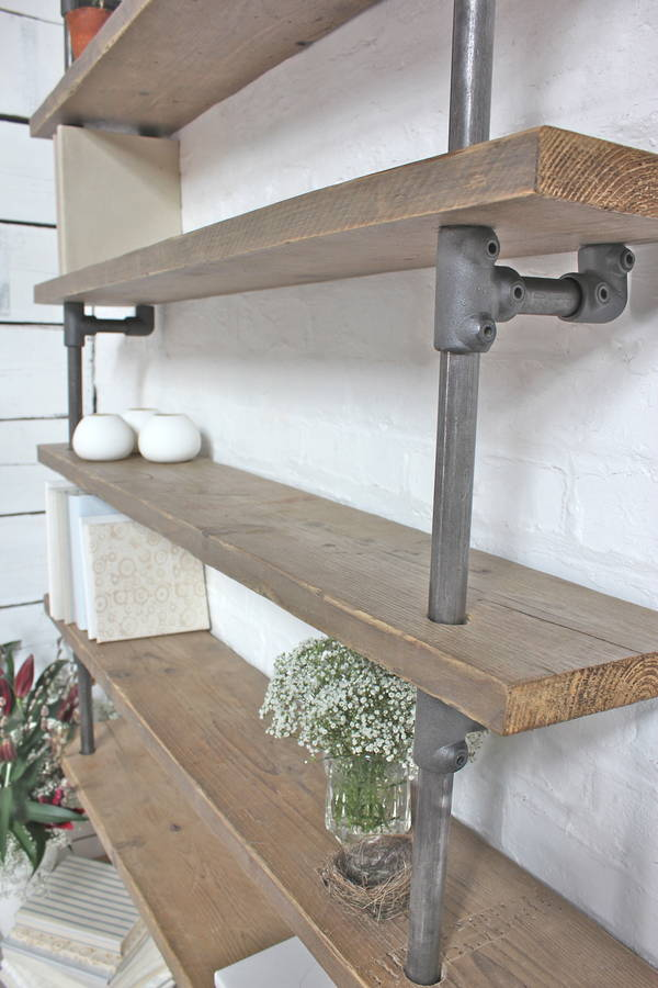 Roger Reclaimed Scaffolding And Dark Steel Shelving By