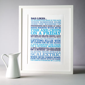 Personalised 'Likes' Poster Print - prints & arts