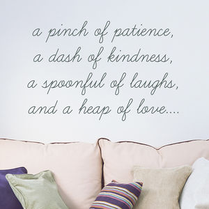 'A Pinch Of Patience' Quote Wall Sticker