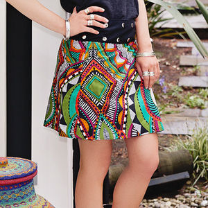 Reversible Button Wrap Skirt - women's
