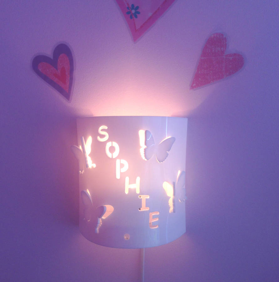 Personalised Butterfly Wall Night Light By Kirsty Shaw