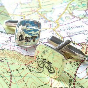 Personalised Hallmarked Bike Cuff Links Maple Gift Box - men's accessories