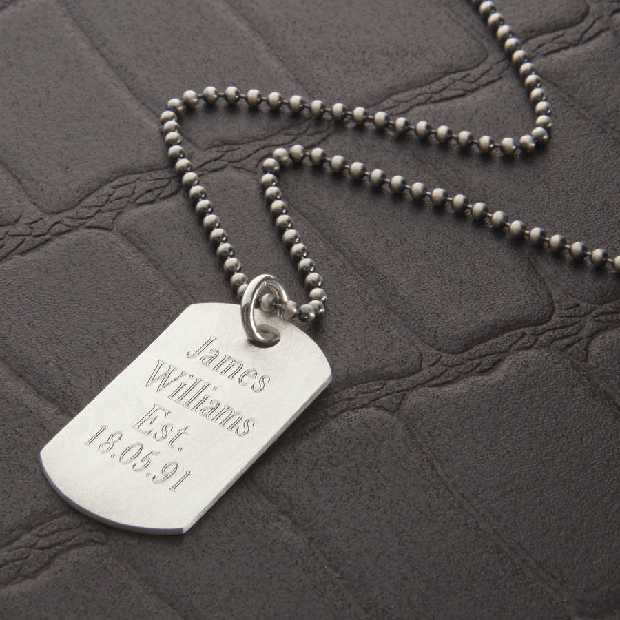 Personalised brushed sterling silver dog tag necklace by personalised brushed sterling silver dog tag necklace mozeypictures Images